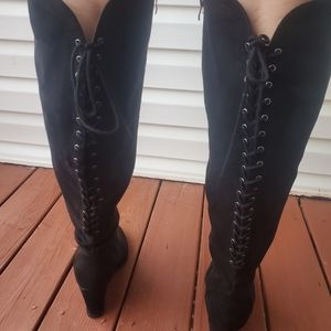 Sexy lace up wide calf wedge boots
